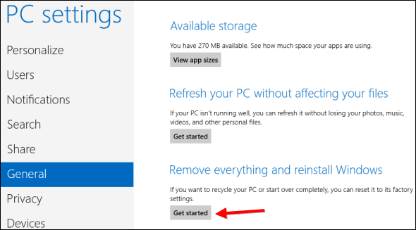 Windows 8.1 pc settings screen showing get started under remove everything and reinstall windows