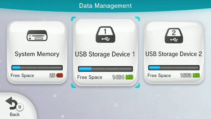 Wii u data management menu showing the storage devices