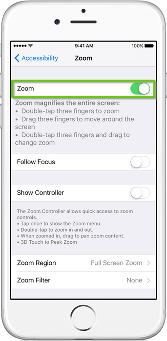 iPhone settings menu with zoom toggle highlighted