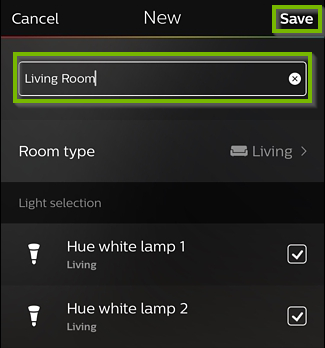 Screenshot of Hue app with field for room name in center, and Save button in upper right corner.