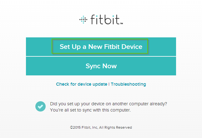 Fitbit first time setup with Set Up a New Fitbit Device selected. Screenshot.