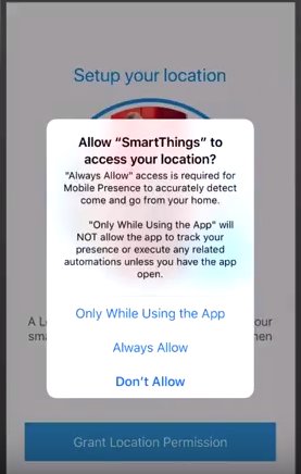 iOS allow smartthings to access your location popup