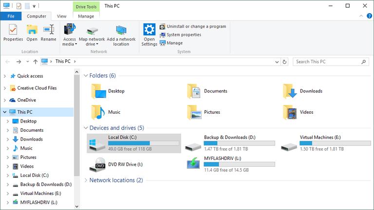 Windows 10 explorer window
