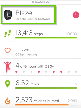 Fitbit Surge App showing tracker selected