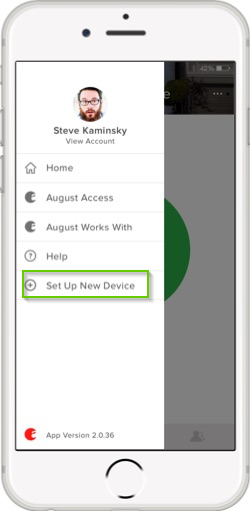 August home app menu screen highlighting the set up new device option.