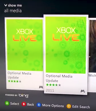 Xbox 360 optional media update search