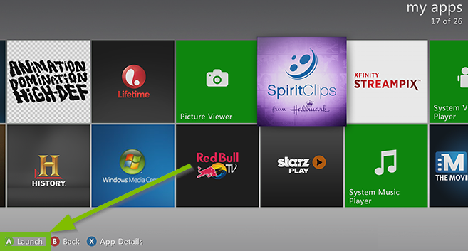 Menu of apps with the A Launch option highlighted