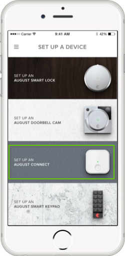 August Home set up a device page with set up an august connect highlighted