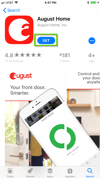 August Home app store page with get highlighted
