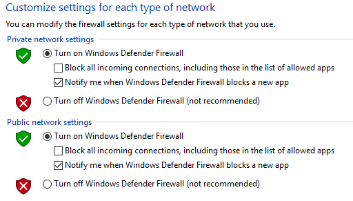 On Off control for Windows Firewall. Screenshot.