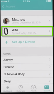 Fitbit app highlighting the Alta device within the device list.