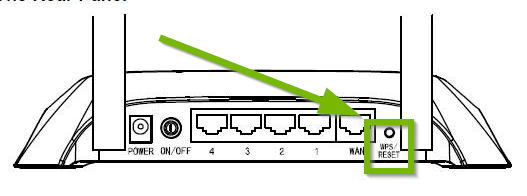 Back of router with reset button highlighted