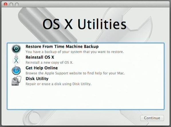 macOS Utilities. Screenshot.