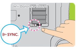 Wii balance board sync button