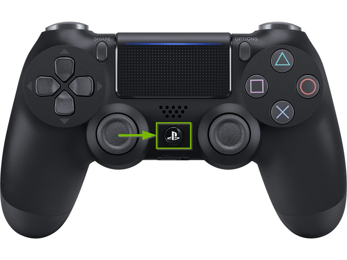 PS button on controller.