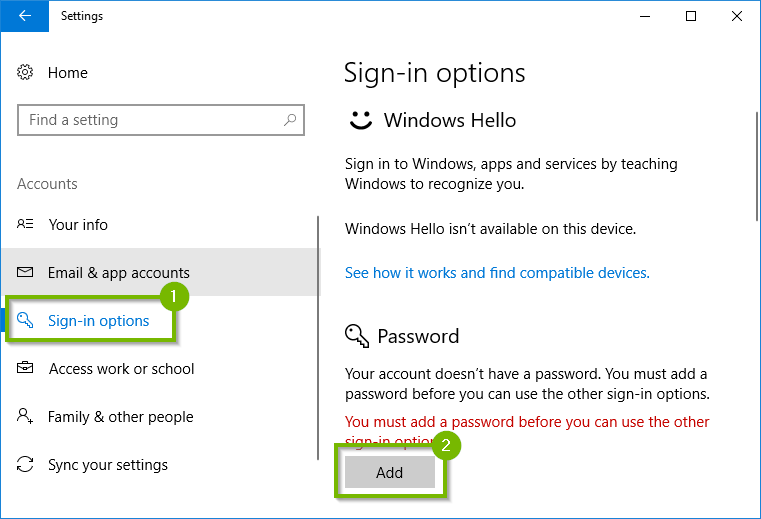 Windows 10 account settings showing sign in options and add password highlighted