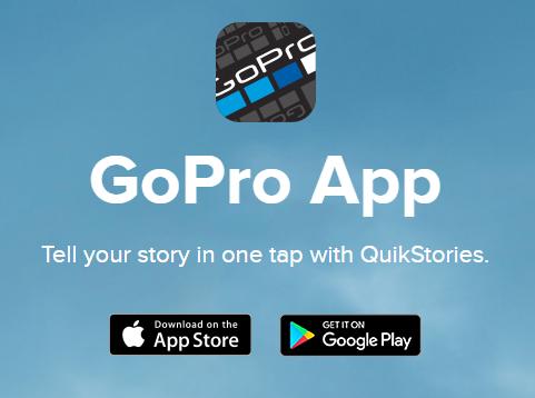 GoPro app download advertisement. Screenshot.