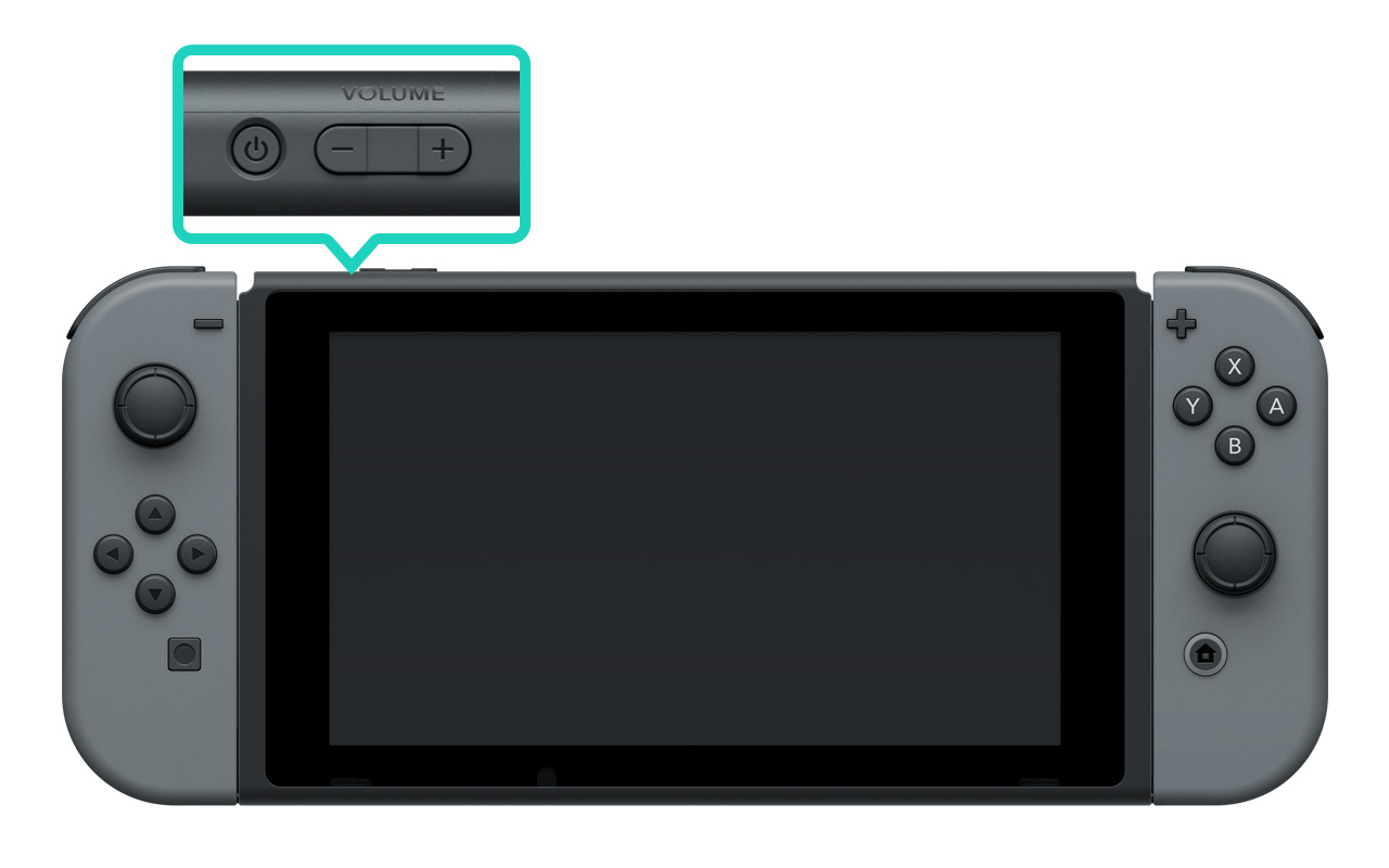 Nintendo Switch console highlighting the power button at the top.