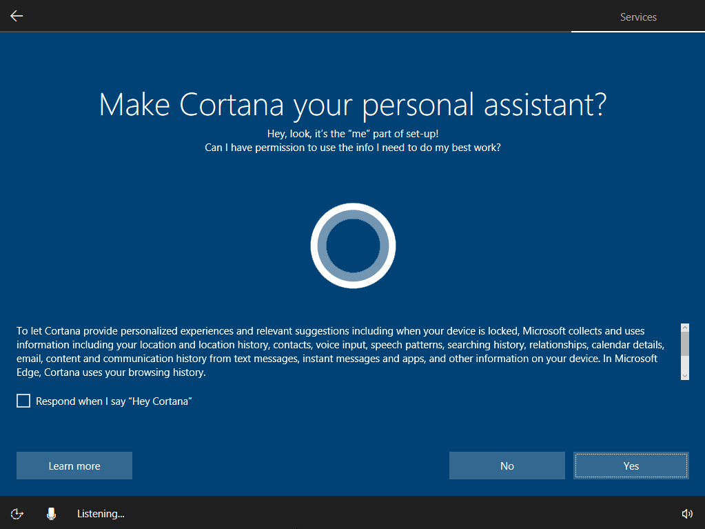 Windows 10 set up Cortana screen.
