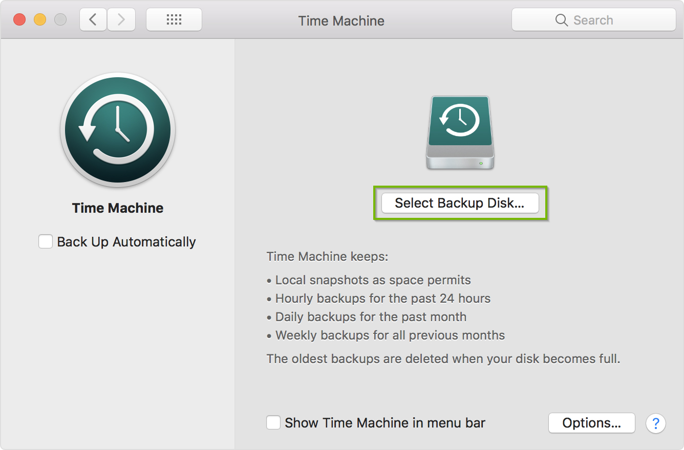 Time Machine screen with Selected Backup Disk button selected Screenshot.