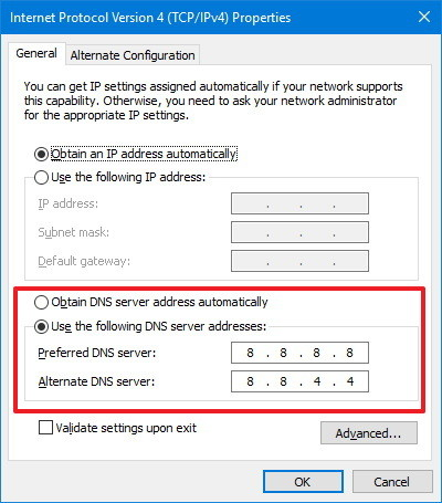 Internet protocol version 4 window highlighting the use the following DNS server addresses area.