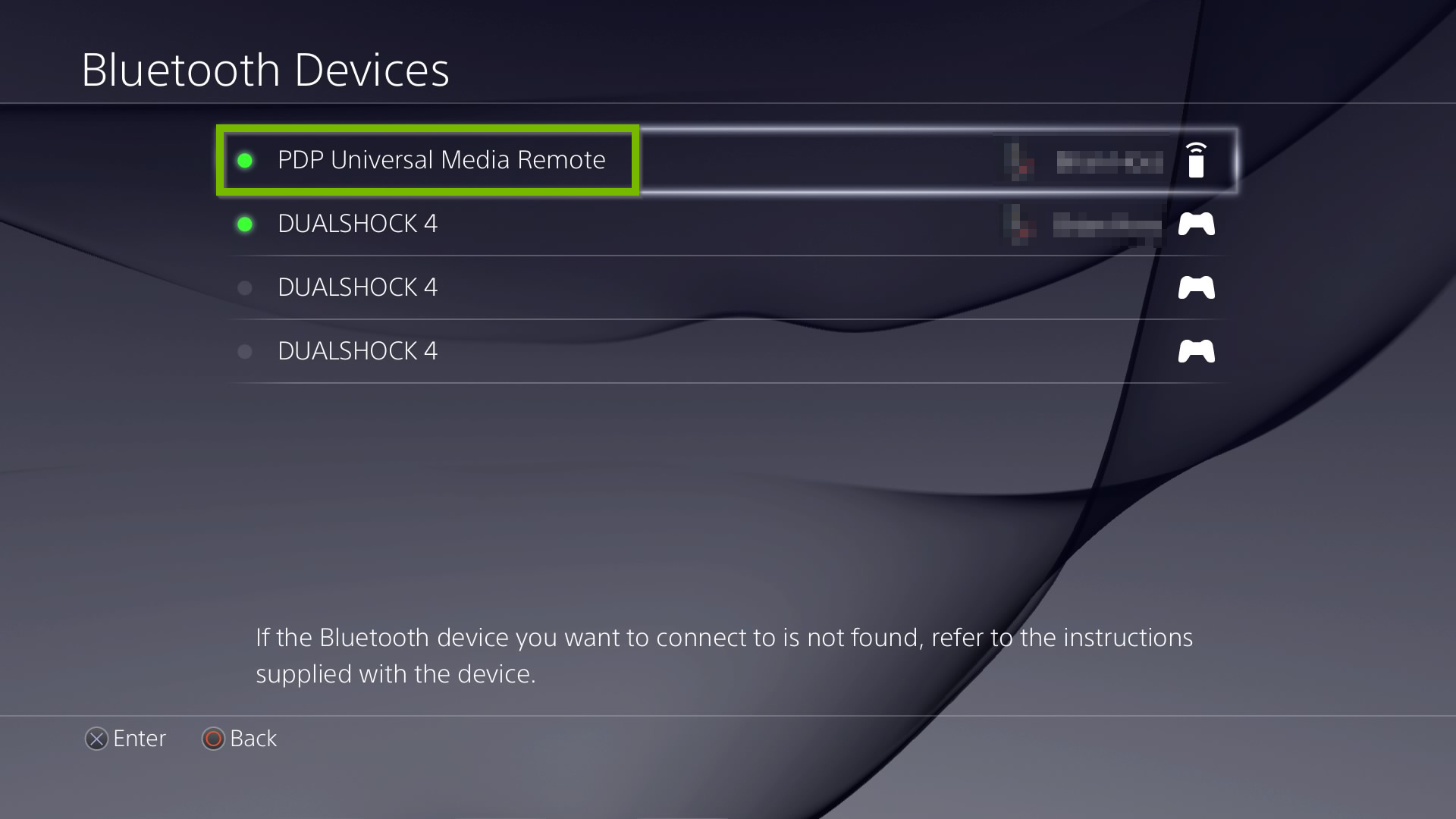 Bluetooth devices list with PDP Media Remote selected. Screenshot.