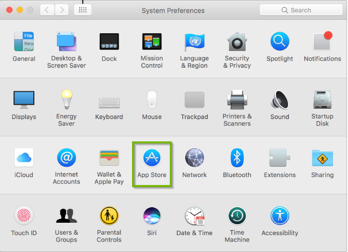 System Preferences with App Store highlighted