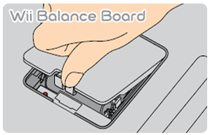 Wii balance board batter cover being removed