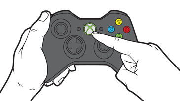 Xbox 360 controller with guide button