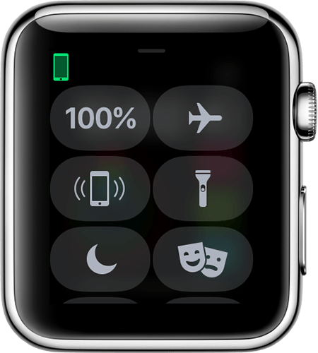 Apple watch face showing the iphone icon as green