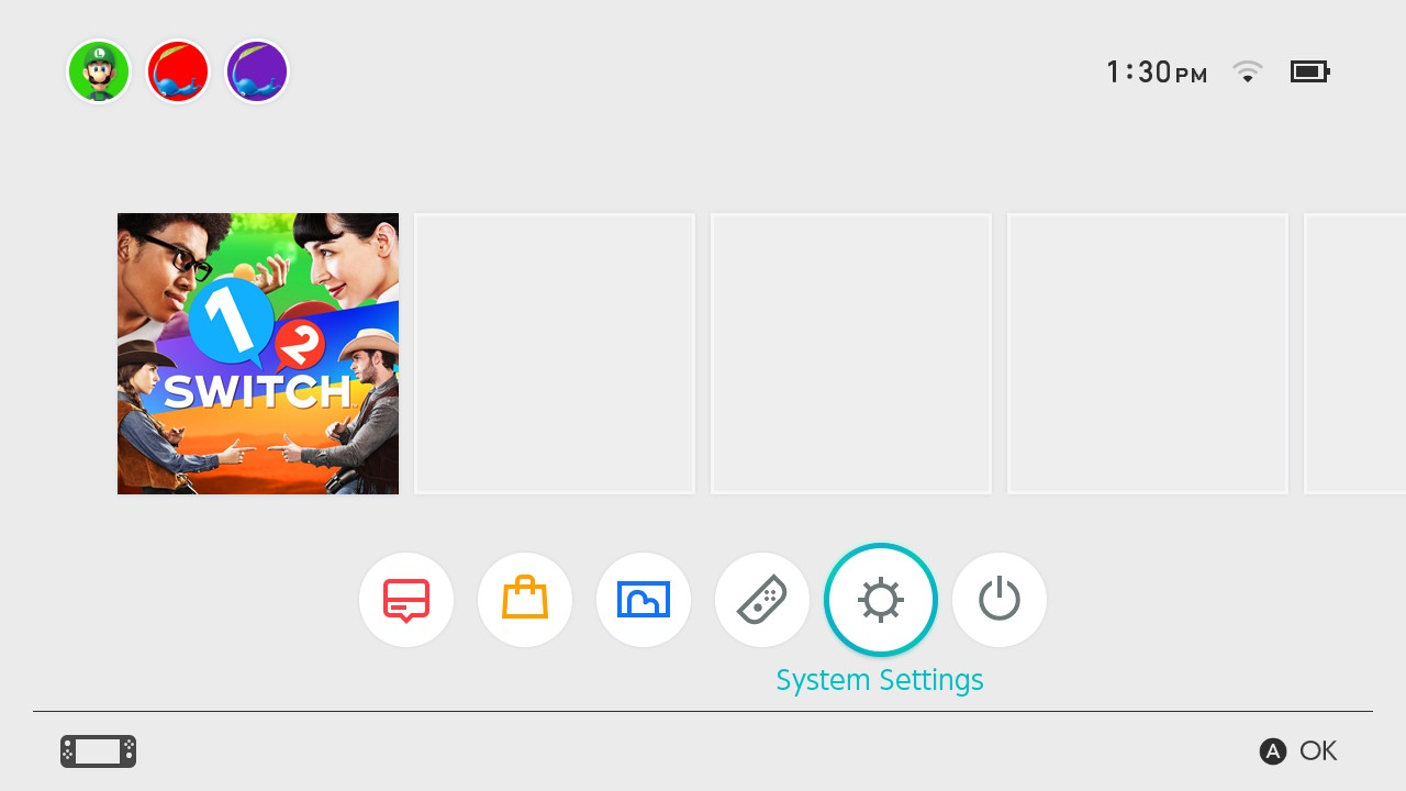 Nintendo Switch home screen highlighting the system settings button.