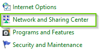 Control panel with network and sharing center highlighted.