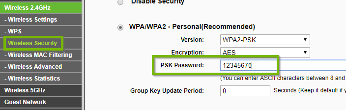Wireless Security with PSK password field highlighted