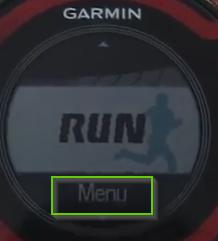Garmin forerunner menu button