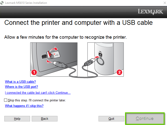 Lexmark install software page showing how to connect the USB cable
