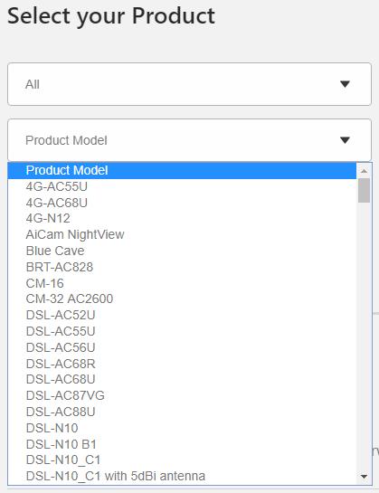 Product model list. Screenshot.