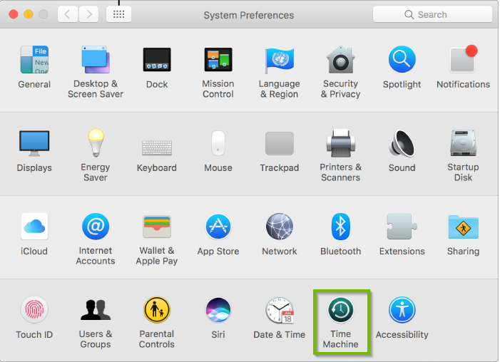 System Preferences window with Time Machine selected. Screenshot.