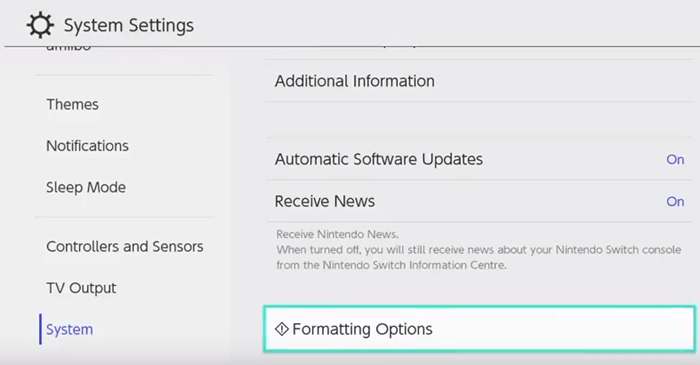 Nintendo switch system settings with formatting options selected