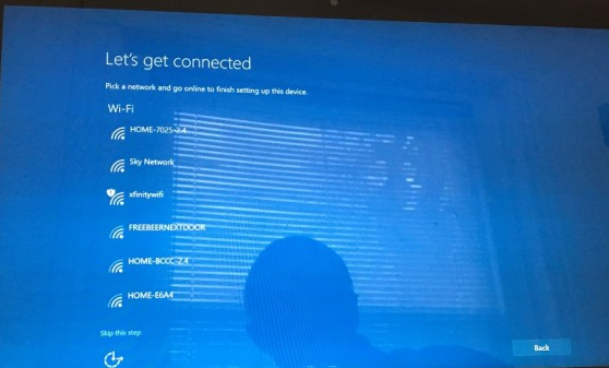 Surface pro let's get connected page with list of networks