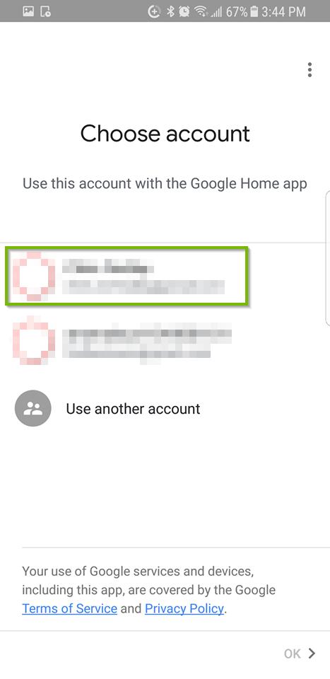 Choose account screen.