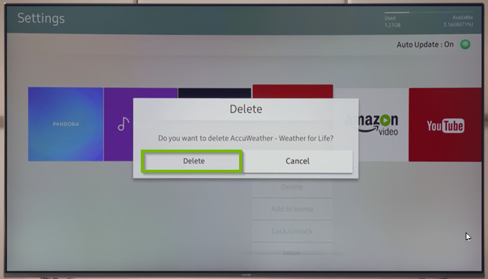 Delete confirmation box with Delete selected.