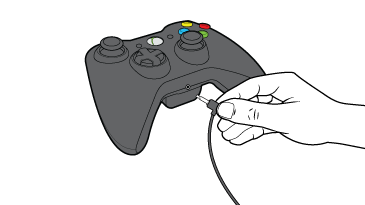 Xbox 360 controller showing the headset jack