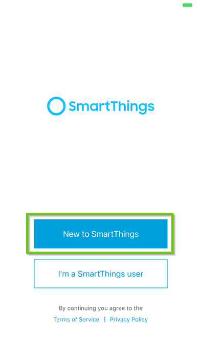 Smartthings first time setup page with new to smartthings highlighted