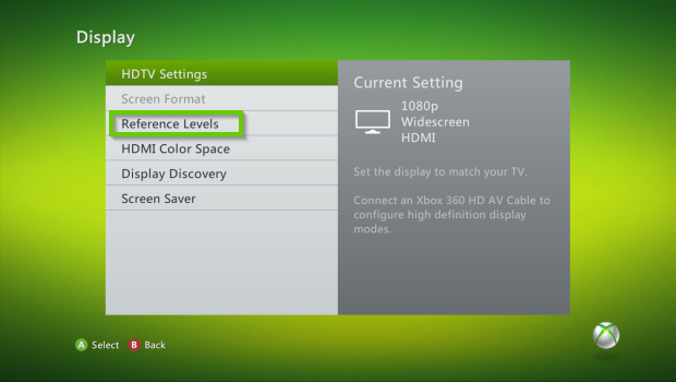 Xbox 360 display settings with reference levels selected