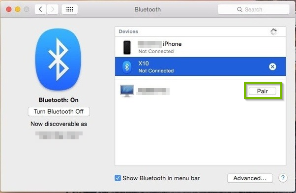 Bluetooth properties box with directions to click the Pair button next to the device you wish to connect to.