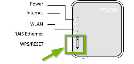 Router with WPS/Reset button highlighted