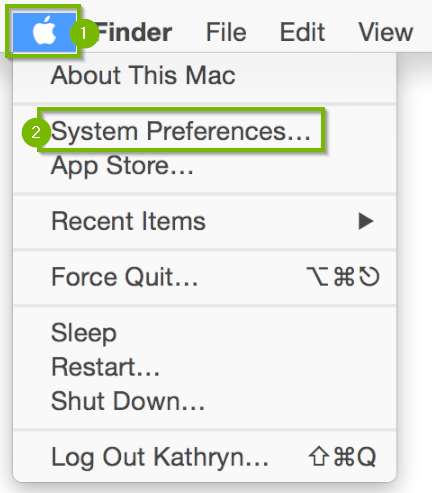 Screenshot of the macOS interface with the Apple logo in the upper-left corner highlighted, its menu expanded, and the system preferences option highlighted.