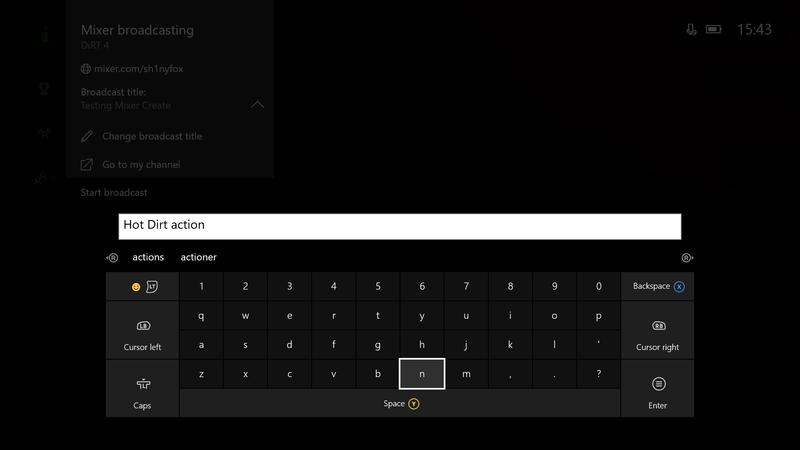 Xbox stream title field