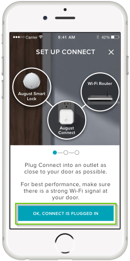 August Home app page with OK, Connect is plugged in highlighted