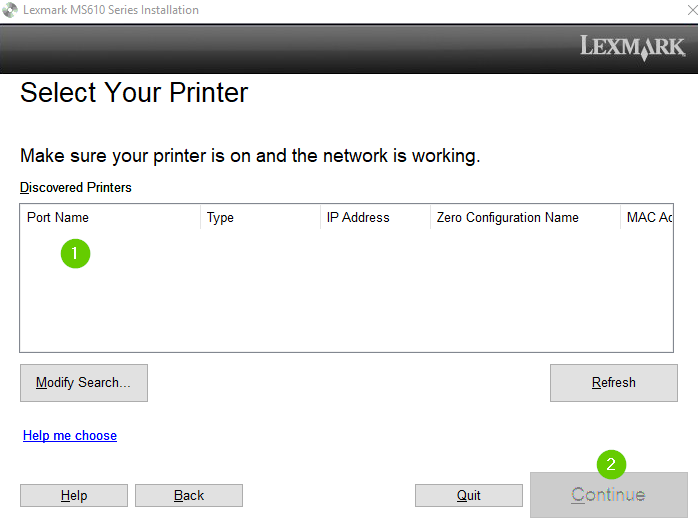 Lexmark printer software detecting the printer